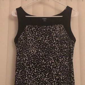 Chaps Dresses - Chaps Black and white floral sleeveless dress